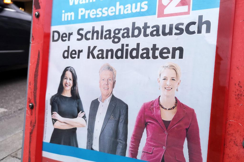 Los tres principales candidatos: Frank (CSU), Reiter (SPD) y Habenschaden (Die Grüne)
